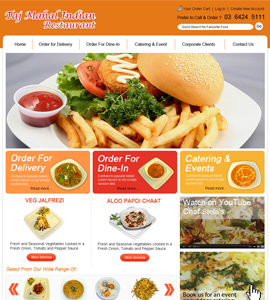 Taj Mahal Indian Restaurant Web Page Design
