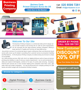 Business Printing Company Website