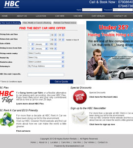 HBC Car Rentals Website Design